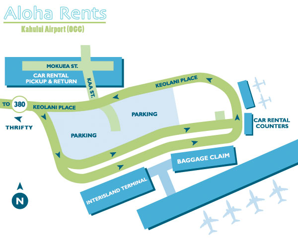 Ogg Airport Map Kahului Maui OGG   Rental Car Map