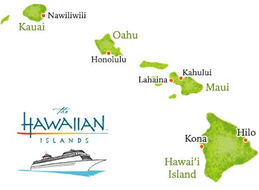 Map of Hawaiian cruise ship harbors