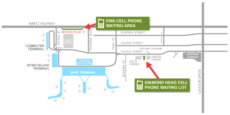 Map of Cell Phone Lots at Honolulu International Airport